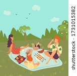 happy family on picnic outdoor... | Shutterstock .eps vector #1731015382