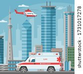 ambulance car and helicopter... | Shutterstock .eps vector #1731017278