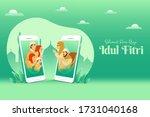 selamat hari raya idul fitri is ... | Shutterstock .eps vector #1731040168