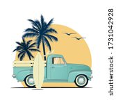 surfing retro pick up truck... | Shutterstock .eps vector #1731042928