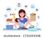 busy mom. cartoon character... | Shutterstock .eps vector #1731053338