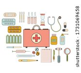 first aid kit and its contents... | Shutterstock .eps vector #1731069658