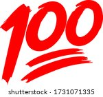 red 100 emoji with swashes   Shutterstock .eps vector #1731071335