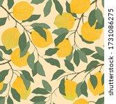 lemons on branches with leaves...   Shutterstock .eps vector #1731086275