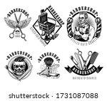 set of vintage barbershop...   Shutterstock .eps vector #1731087088