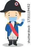 Napoleon Bonaparte cartoon character with surgical mask and latex gloves as protection against a health emergency
