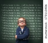 naughty schoolboy with lines... | Shutterstock . vector #173113406