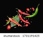 red and green chili pepper with ...   Shutterstock .eps vector #1731191425