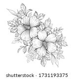 hand drawn bunch with hibiscus... | Shutterstock .eps vector #1731193375