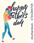 dad holds his daughter's on... | Shutterstock .eps vector #1731304735