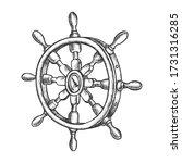 Sketch Of Vintage Ship Steering ...