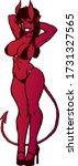 sporty devil girl in a bikini... | Shutterstock .eps vector #1731327565