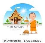 thai monk holding broom is leaf ...   Shutterstock .eps vector #1731338392