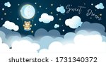 little bear riding on a moon... | Shutterstock .eps vector #1731340372