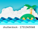 island and the beach paper cut...   Shutterstock .eps vector #1731365068