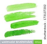 set of green watercolor brush...   Shutterstock .eps vector #173137202