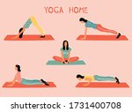 vector set with woman doing... | Shutterstock .eps vector #1731400708