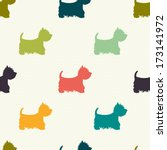 seamless pattern with dog...   Shutterstock .eps vector #173141972