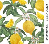 lemon  seamless vector pattern. ...   Shutterstock .eps vector #1731420325