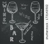 set of sketched glasses for red ... | Shutterstock .eps vector #173143502