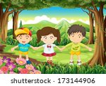 illustration of the three kids... | Shutterstock .eps vector #173144906