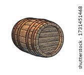 old wooden barrel lying on its... | Shutterstock .eps vector #1731451468