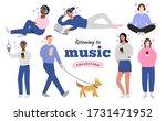 young people in headphones... | Shutterstock .eps vector #1731471952