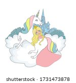 beautiful young princess and... | Shutterstock . vector #1731473878