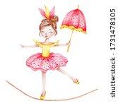 Cute Circus Girl With Umbrella...
