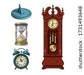 set of old clocks. sundial ... | Shutterstock .eps vector #1731493648