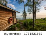 Landscape with finnish sauna building and the gulf of Bothnia on background, Finland