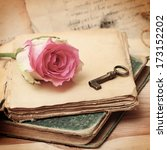 pink rose on an old book ... | Shutterstock . vector #173152202