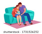 a sad family sits on couch  mom ... | Shutterstock .eps vector #1731526252