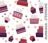 birthday baked cakes flat...   Shutterstock .eps vector #1731542242