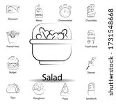 fast food salad outline icon....