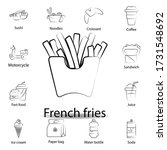 fast food french fries outline...