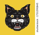 black witch cat. evil scary... | Shutterstock .eps vector #1731590845