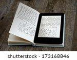 modern ebook reader on book on... | Shutterstock . vector #173168846