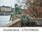 Detailed view of the statue of Helvetia sitting by the Rhine river in Basel, Switzerland