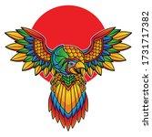 parrot flash tattoo vector eps... | Shutterstock .eps vector #1731717382