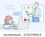 little girl student wear...   Shutterstock .eps vector #1731739015
