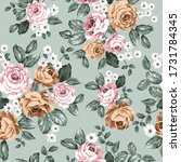 pink and brown vector flowers... | Shutterstock .eps vector #1731784345