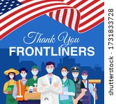 thank you frontliners. various... | Shutterstock .eps vector #1731833728