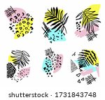 tropical print with palm leaves ...   Shutterstock .eps vector #1731843748