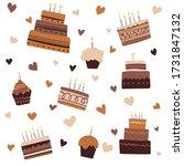 birthday baked cakes flat...   Shutterstock .eps vector #1731847132
