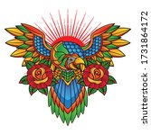 traditional parrot tattoo... | Shutterstock .eps vector #1731864172