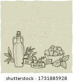 bottle of olive oil and fresh... | Shutterstock .eps vector #1731885928
