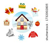 vector set winter. collection... | Shutterstock .eps vector #1732002805