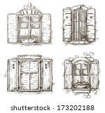 vintage window hand drawn set... | Shutterstock .eps vector #173202188