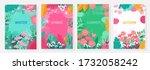 vector set floral background ... | Shutterstock .eps vector #1732058242